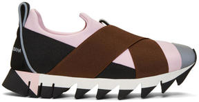 Dolce & Gabbana Pink and Black Ibiza Slip-On Sneakers