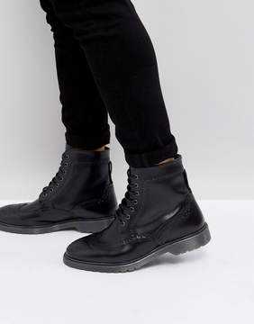 Asos Brogue Boots In Black Leather With Ribbed Sole