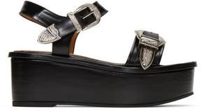 Toga Pulla Black Buckle Flatform Sandals