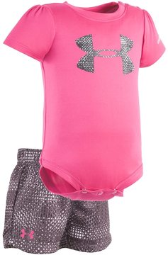 Under Armour Baby Girl Logo Graphic Bodysuit & Striped Shorts Set