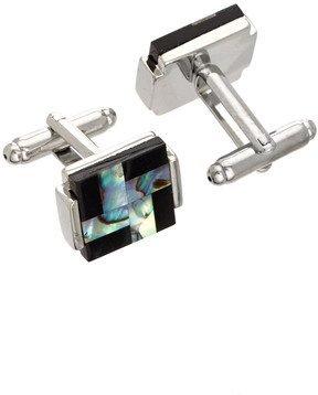 Jan Leslie Silver & Epoxy Square Cufflinks