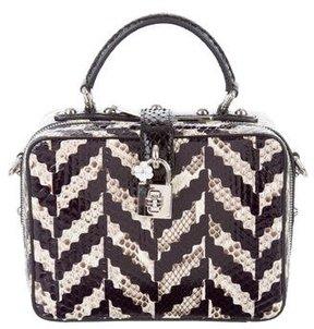 Dolce & Gabbana 2016 Python Chevron Macro Box Bag - BLACK - STYLE