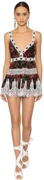 V Neck Ruffled Velvet & Lace Mini Dress