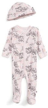 Offspring Infant Girl's Floral Print Footie & Hat Set