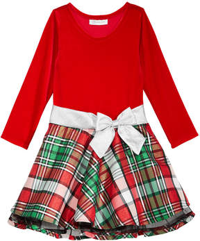 Bonnie Jean Velvet & Plaid Drop-Waist Party Dress, Toddler Girls (2T-5T) & Little Girls (4-6X)