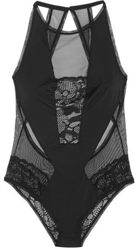 Calvin Klein Underwear Tulle, Stretch-jersey And Lace Bodysuit - Black