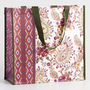 World Market Pink Floral Boho Tote Bag
