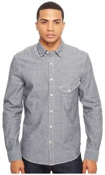 Joe's Jeans Ty Woven Railroad Indigo Stripe Men's Long Sleeve Button Up
