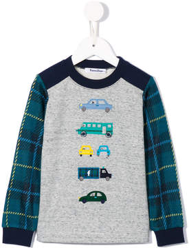 Familiar plaid sleeve sweatshirt