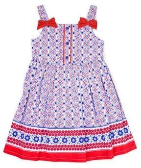 Nannette Little Girls' 4-6X Floral Print Poplin Dress
