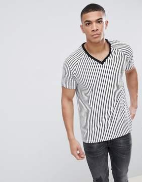 Asos DESIGN relaxed raglan vertical striped t-shirt