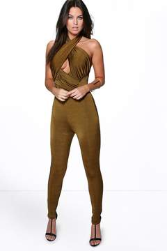 boohoo Joanna Gathered Disco Skinny Jumpsuit