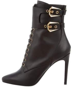 Balmain Leather Lace-Up Ankle Boots w/ Tags