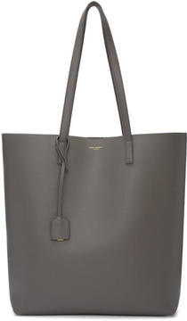 Saint Laurent Taupe Medium North-South Shopping Tote - TAUPE - STYLE