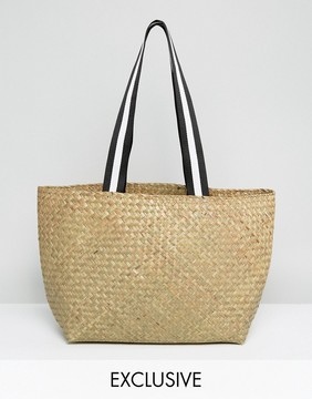 Reclaimed Vintage Inspired Straw Shoulder Bag With Sports Straps