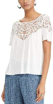 Denim & Supply Ralph Lauren Lace Jersey Short Sleeve Top.