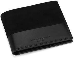 Aspinal of London | Shadow Billfold Wallet In Black Nubuck | Black nubuck