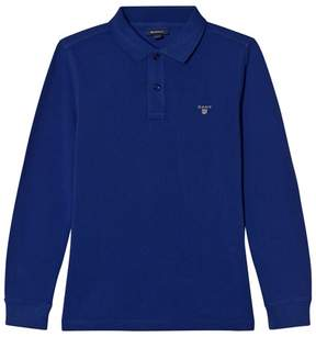 Gant Blue Pique Long Sleeve Rugger Shirt