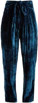 Masscob Tie-waist tapered-leg crinkle-velvet trousers