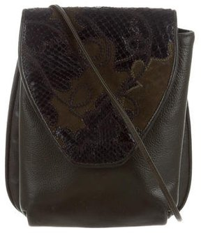 Carlos Falchi Snakeskin-Trimmed Crossbody Bag