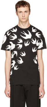 McQ Black and White Swallows T-Shirt