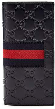 Gucci GG-debossed Web bi-fold leather wallet