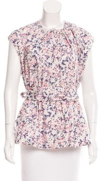 Cacharel Belted Floral Print Blouse
