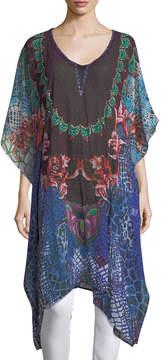 Alberto Makali Floral-Print Semisheer Chiffon Cardigan Top