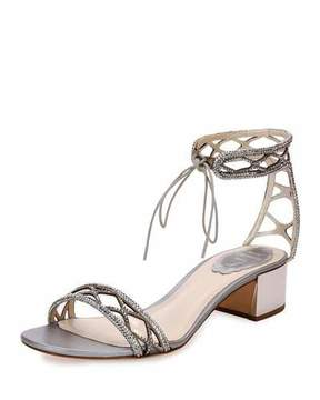 Rene Caovilla Crystal-Studded 40mm Ankle-Tie Sandal, Silver