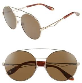 Women's Givenchy 62Mm Round Sunglasses - Gold