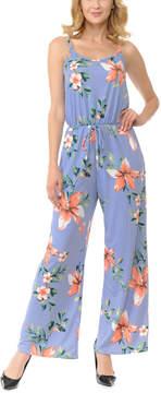 Celeste Blue Floral Sleeveless Wide-Leg Jumpsuit - Women & Plus
