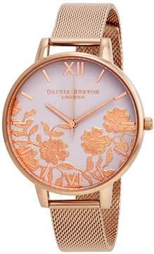 Olivia Burton Lace Detail White Dial Ladies Watch