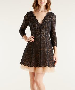 Bebe Black Lace V-Neck Dress