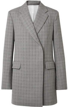 Calvin Klein Oversized Glen Plaid Wool Mini Dress - Gray