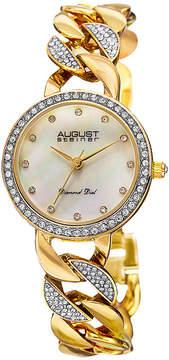 August Steiner Womens Gold Tone Strap Watch-As-8190yg