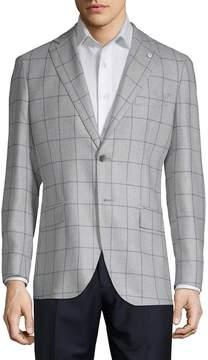 Lubiam Men's Window Wool & Silk Sportcoat