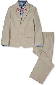Nautica 4-Pc. Herringbone Suit Jacket, Pants, Shirt & Bowtie Set, Little Boys