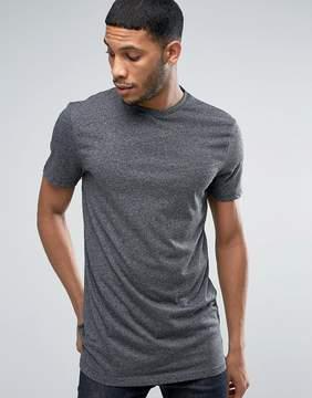 New Look Longline T-Shirt In Dark Gray Marl