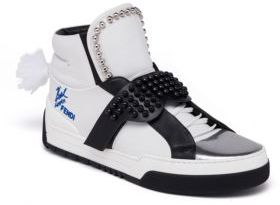 Fendi Karlito Studded High Top Leather Sneakers