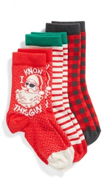Tucker + Tate Boy's 3-Pack Santa Guy Assorted Crew Socks