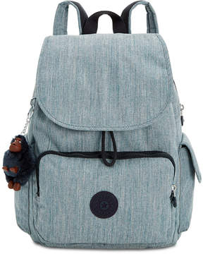 Kipling Ravier Denim Backpack - INDIGO BLUE/SILVER - STYLE