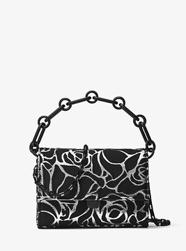 Michael Kors Yasmeen Small Rose Jacquard Clutch - SILVER - STYLE