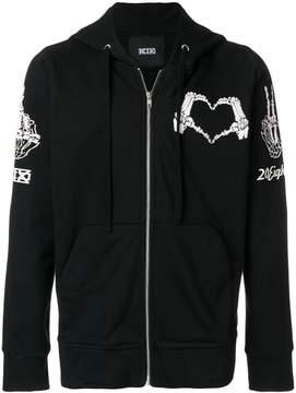 Kokon To Zai heart stamp zipped hoodie