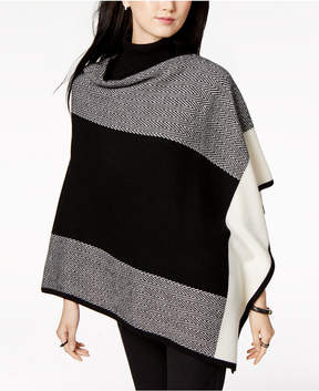 Charter Club Cashmere Colorblocked Poncho Sweater, Created for Macy's