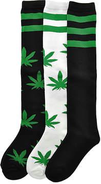 Angelina Black & Green Leaf 3-Pair Knee-high Socks Set - Women