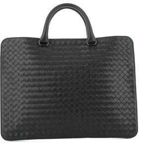 Bottega Veneta Men's Black Leather Briefcase.