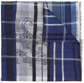 Etro plaid paisley print scarf