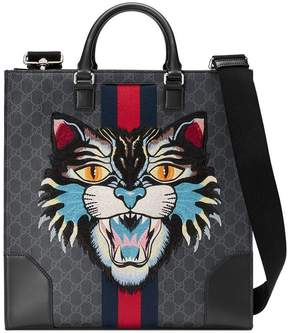 Gucci GG Supreme tote with Embroidered Angry Cat