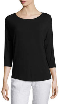 Neiman Marcus Majestic Paris for Soft Touch 3/4-Sleeve Boat-Neck Top