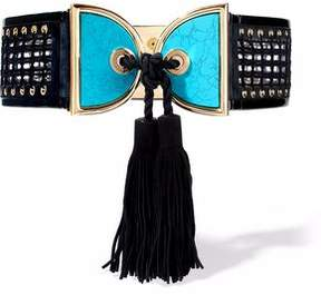 Balmain Patent Leather-Trimmed Embellished Crochet And Suede Belt